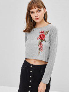 Camiseta Corta De Manga Larga Con Bordado Floral - Nube Gris M