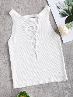 Crop Lace-up Knit Tank Top - White