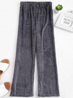 Faux Shearling Fluffy Pantalones Casuales - Gris De Acorazado L