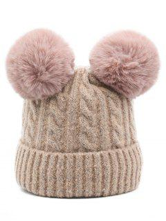 Outdoor Fuzzy Ball Flanging Slouchy Beanie - Pink