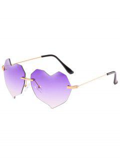 Novelty Irregular Heart Lens Rimless Sunglasses - Purple Flower