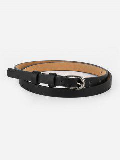 Vintage Skinny Faux Leather Waist Belt - Black