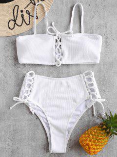 Bikini De Encaje Acanalado - Blanco M