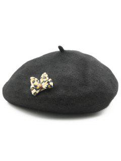 Leopard Bowknot Embellished Painter Hat - Black