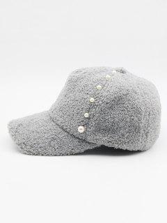 Stylish Faux Pearl Embellished Baseball Cap - Battleship Gray