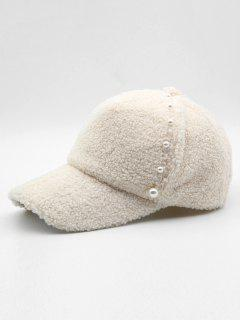 Stylish Faux Pearl Embellished Baseball Cap - White
