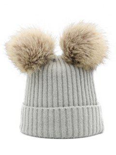 Winter Fuzzy Ball Knitting Slouchy Beanie - Gray Cloud