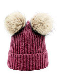 Winter Fuzzy Ball Knitting Slouchy Beanie - Red Wine