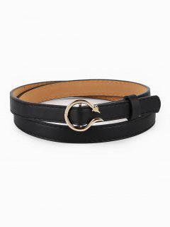 Alloy Snake Buckle Skinny Belt - Black