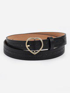 Elegant Heart Buckle Faux Leather Belt - Black