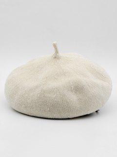 Winter Solid Color Thick Beret - White
