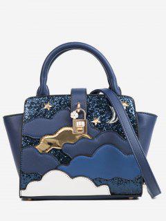 Color Block Design Paillette Handbag - Dark Slate Blue