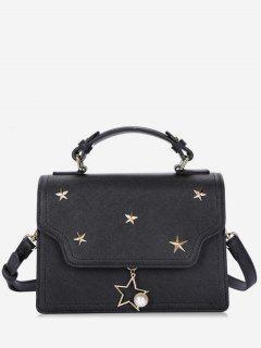 Star Shape Rivets Artificial Pearl Crossbody Bag - Black