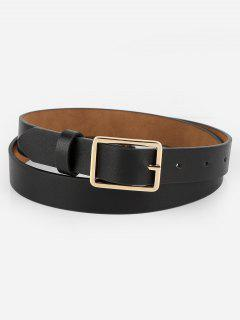 Simple Design Buckle Faux Leather Belt - Black