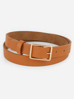 Simple Design Buckle Faux Leather Belt - Brown