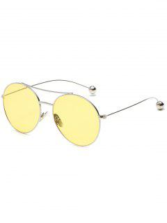 Novelty Steel Ball Leg Oval Sunglasses - Yellow