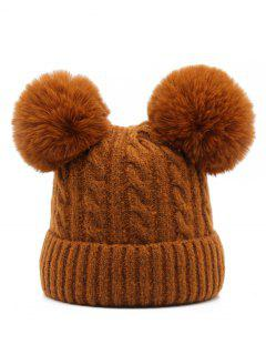 Outdoor Fuzzy Ball Flanging Slouchy Beanie - Brown