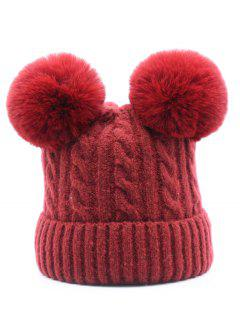 Outdoor Fuzzy Ball Flanging Slouchy Beanie - Red Wine