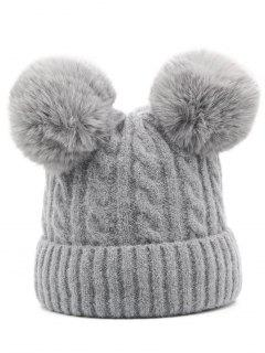 Outdoor Fuzzy Ball Flanging Slouchy Beanie - Gray Cloud