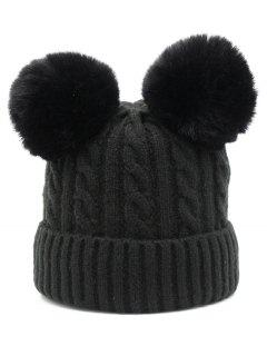Outdoor Fuzzy Ball Flanging Slouchy Beanie - Black