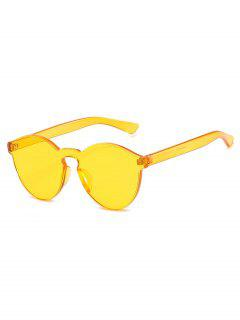 Stylish Rimless Clear Lens Sunglasses - Yellow
