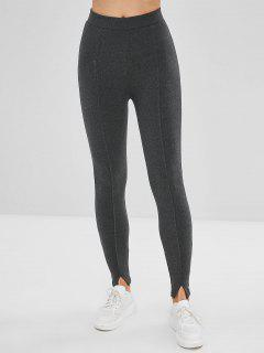 Slit Hem Elastic Gym Leggings - Gray