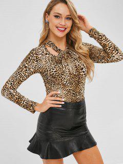 Bow Tie Collar Leopard Top - Leopard M