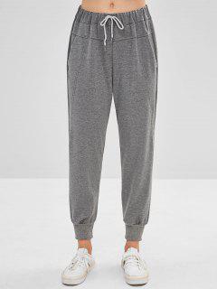 Pantalon De Jogging Taille Haute Avec Poche Latérale - Gris Nuageux M