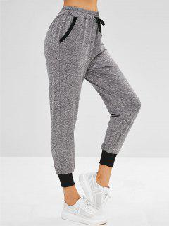 High Waisted Joggers Pants - Gray M