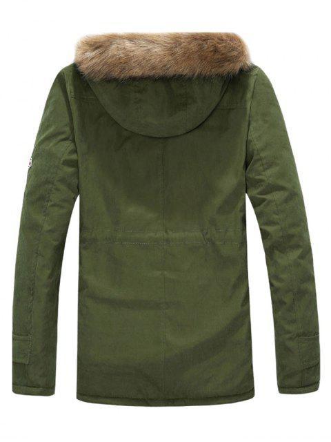 Veste à Capuche avec Doublure en Fausse Fourrure - Vert Armée  M Mobile