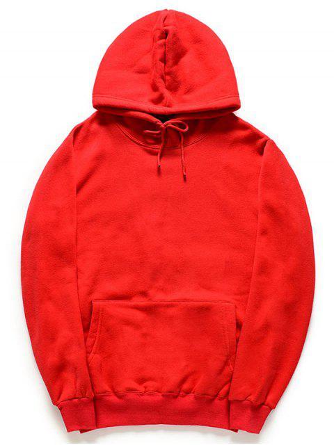 Color sólido canguro bolsillo polar sudadera con capucha - Rojo M Mobile