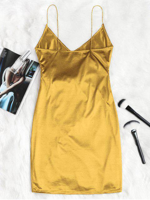 Robe de Soirée à Bretelle Croisée Camouflage - Or M Mobile
