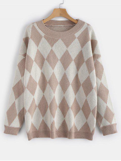 Kontrast-geometrische Grafik lose Pullover - Tan Eine Größe Mobile