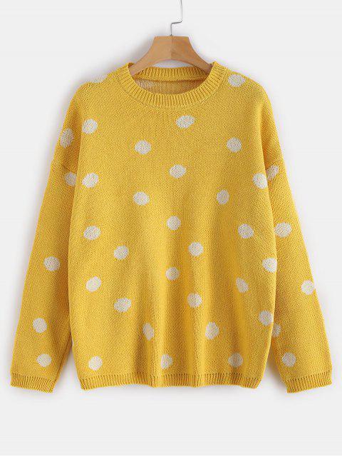 Tropfen Schulter Polka Dot lose Pullover - bläulich gelb Eine Größe Mobile