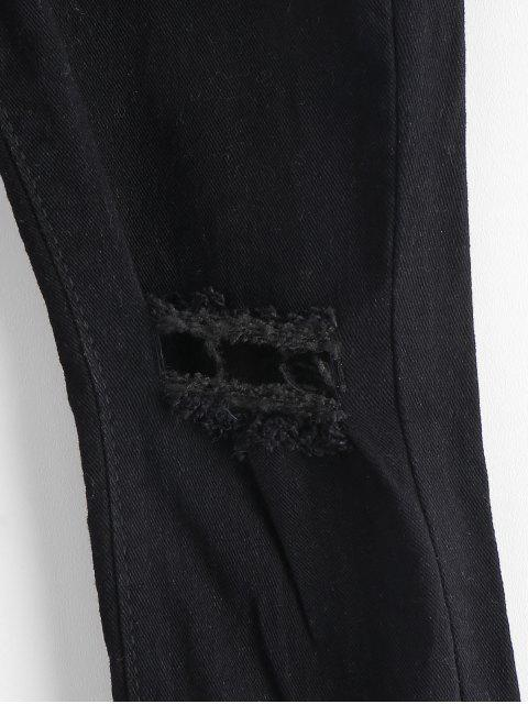 Jeans rotos con dobladillo desgastado y rotos - Negro S Mobile