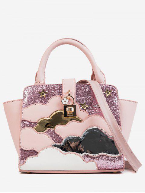 fancy Color Block Design Paillette Handbag - ORANGE PINK  Mobile