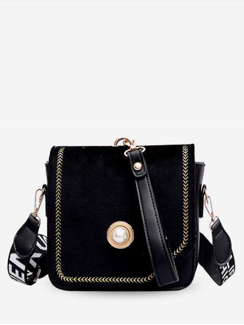 Wideband Design Crossbody-Tasche mit Gewinde - Schwarz  Mobile