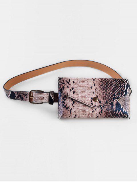fancy Vintage Snake Pattern Fanny Pack Belt Bag - COFFEE  Mobile