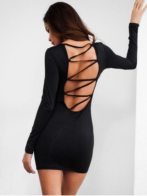 women Backless Plain Bodycon Dress - BLACK L Mobile