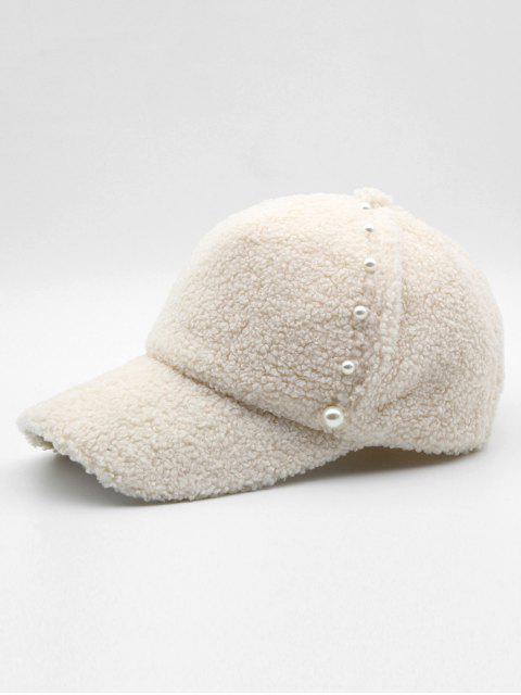 lady Stylish Faux Pearl Embellished Baseball Cap - WHITE  Mobile