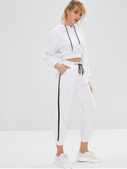 fancy Sport Crop Gym Hoodie and Pants Set - WHITE L Mobile