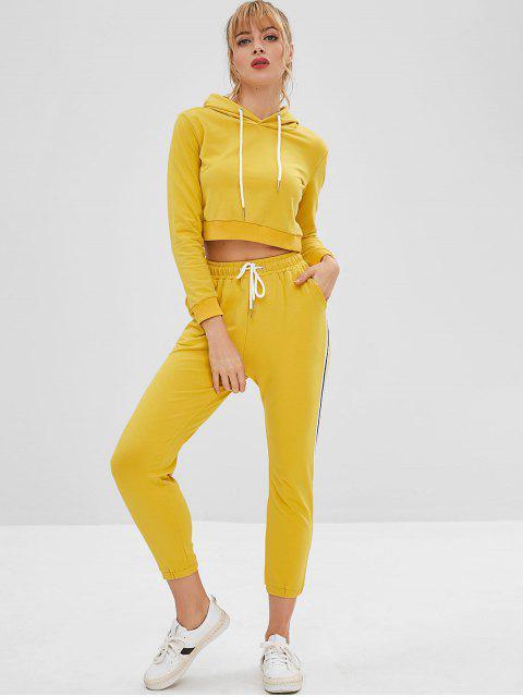 Crop Sport Gym con capucha y conjunto de pantalones - Amarillo L Mobile