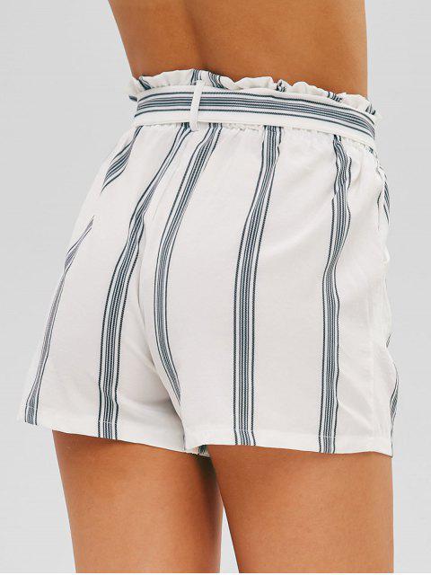 Short Rayé Ceinturé à Taille Haute - Blanc S Mobile