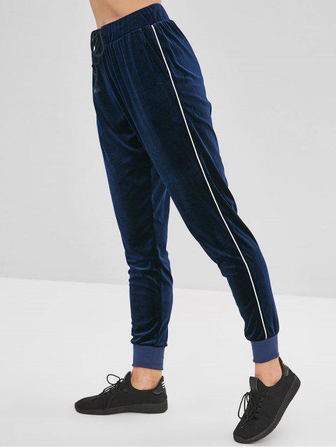 ZAFUL terciopelo pantalones jogger con cordón - Cadetblue S Mobile