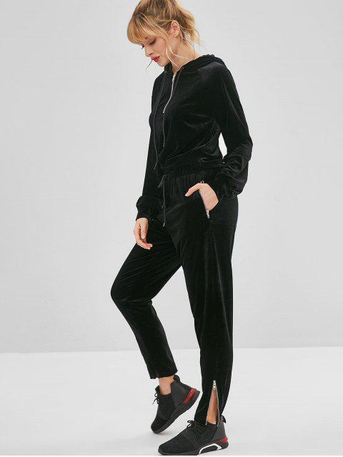 ZAFUL Velvet Zipper Drawstring Pants - Schwarz S Mobile