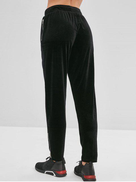 ZAFUL Velvet Zipper pantalones con cordón - Negro M Mobile