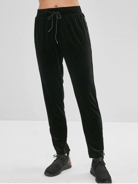 ZAFUL Velvet Zipper Drawstring Pants - Schwarz L Mobile