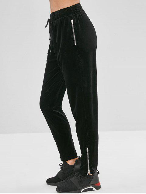 ZAFUL Velvet Zipper pantalones con cordón - Negro L Mobile