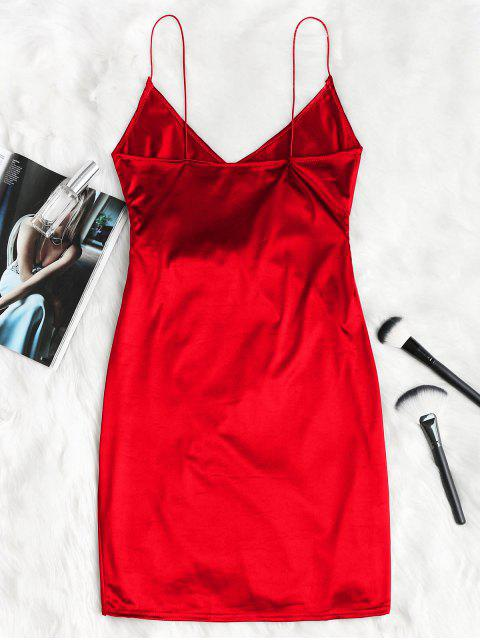 women Cami Draped Crossover Slip Party Dress - LAVA RED M Mobile