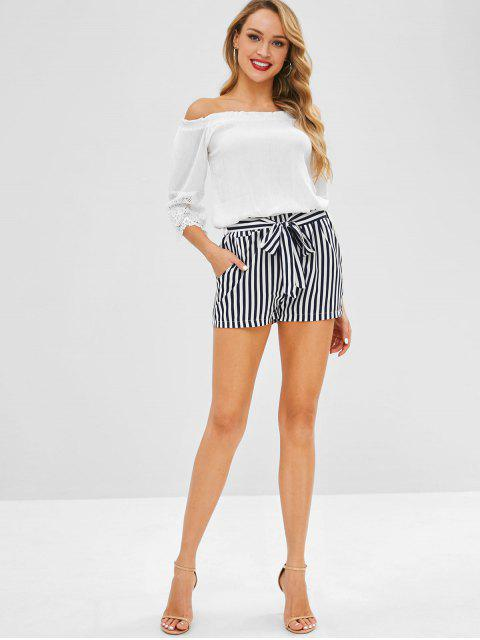 Short Rayé avec Poche Latérale avec Ceinture - Blanc M Mobile